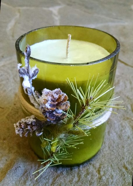 Soy candle in recycled, cut wine bottle.