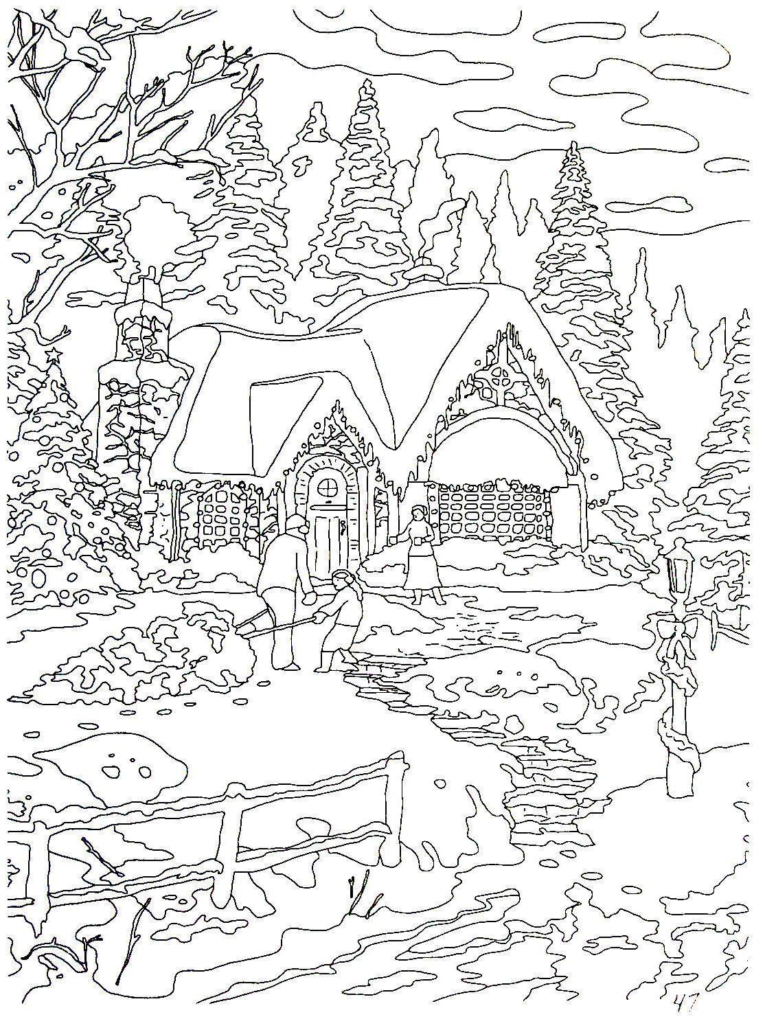 Country Christmas Homecoming Thomas Kinkade Painting Coloring Book Printable Page Coloring Books Coloring Pages Christmas Coloring Pages
