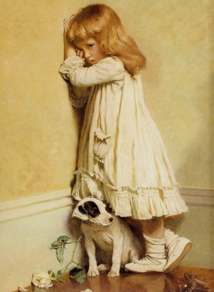 Print Victorian Portrait * IN DISGRACE Naughty Girl Pet Jack Russell Terrier Dog #Realism