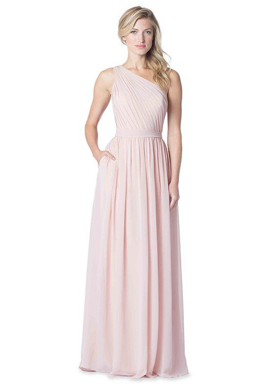 3a6d60484b8 Pink bridesmaid dress with one shoulder and sweetheart neckline ...