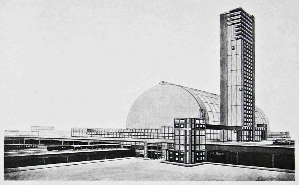 А. Конструктивизм Буров. Проект центрального вокзала в Москве. 1925. Конструктивизм.