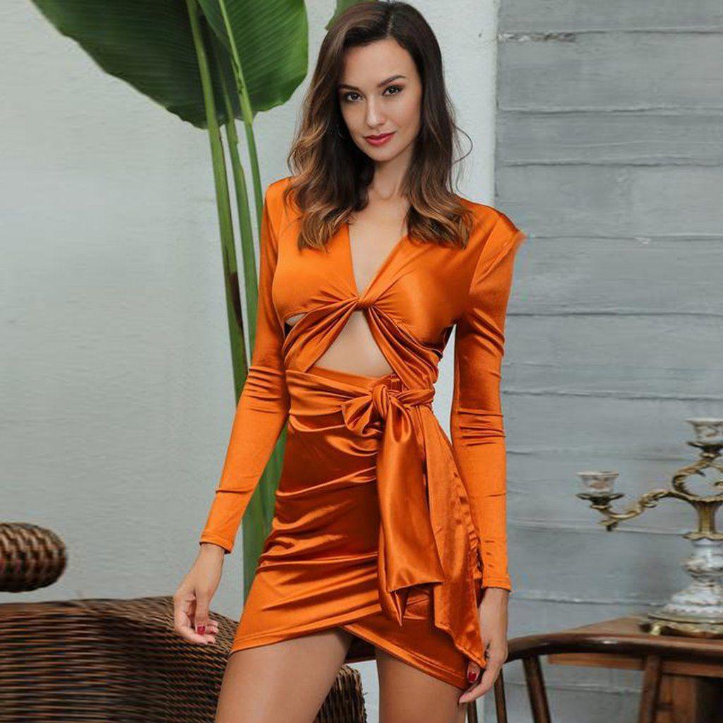 a512ba1d12b Rust Orange Kylie Jenner Birthday inspired satin wrap front long sleeves  mini dress