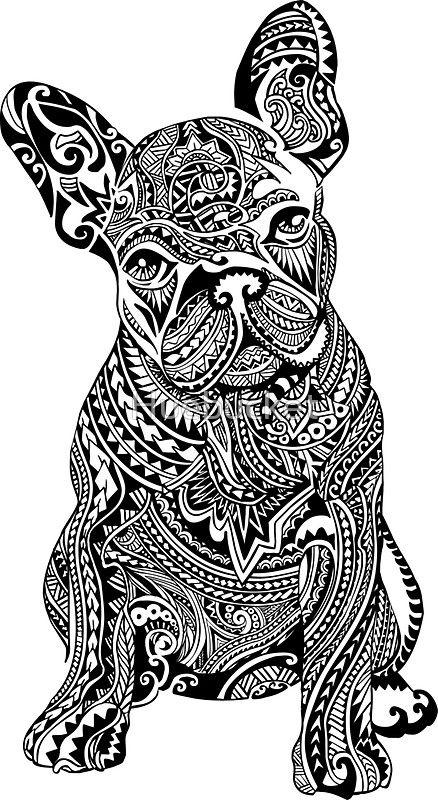 pegatina 'bulldog francés polinesio' de huebucket
