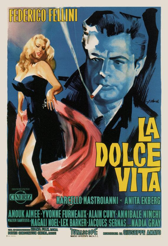 CLASSIC FILM POSTER -  La Dolce Vita Poster - Fellini Movie Poster,  Classic Italian Movie Poster, C #filmposters