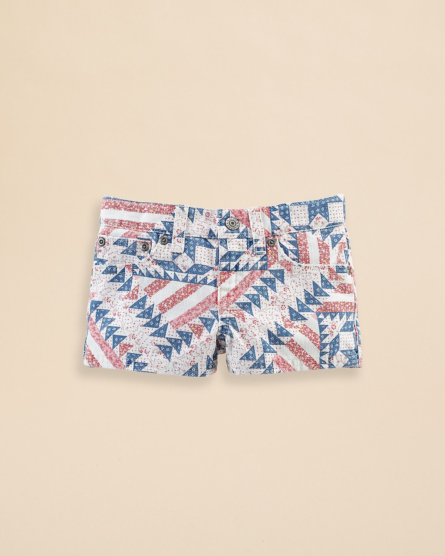 Ralph Lauren Childrenswear Girls' Printed Denim Shorts - Sizes 2-6X | Bloomingdale's
