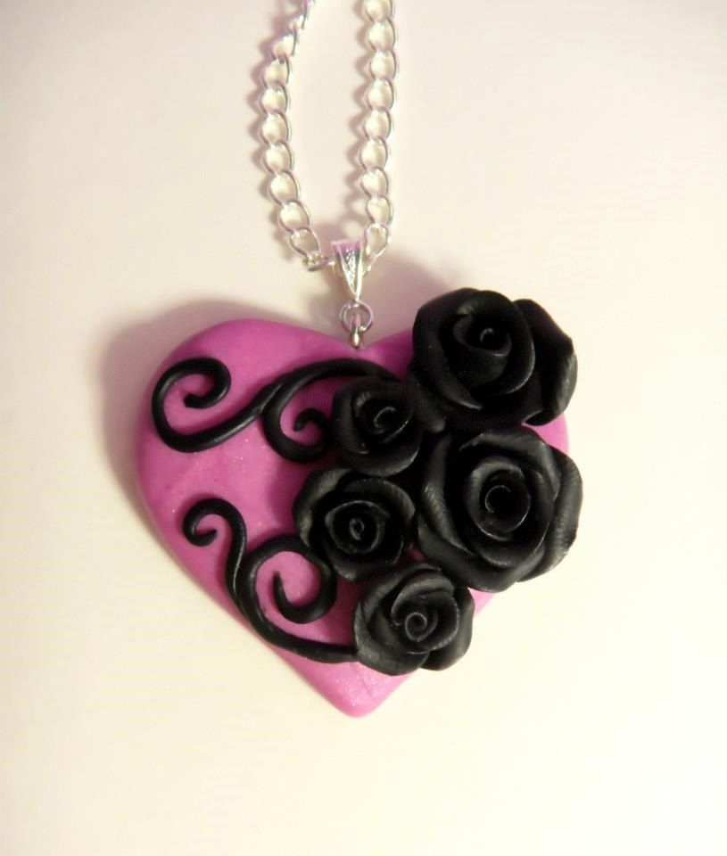 Handmade+Heart+and+Rose+Polymer+Clay+by+SoPerfectlyTwisted+on+Etsy,+$23.00