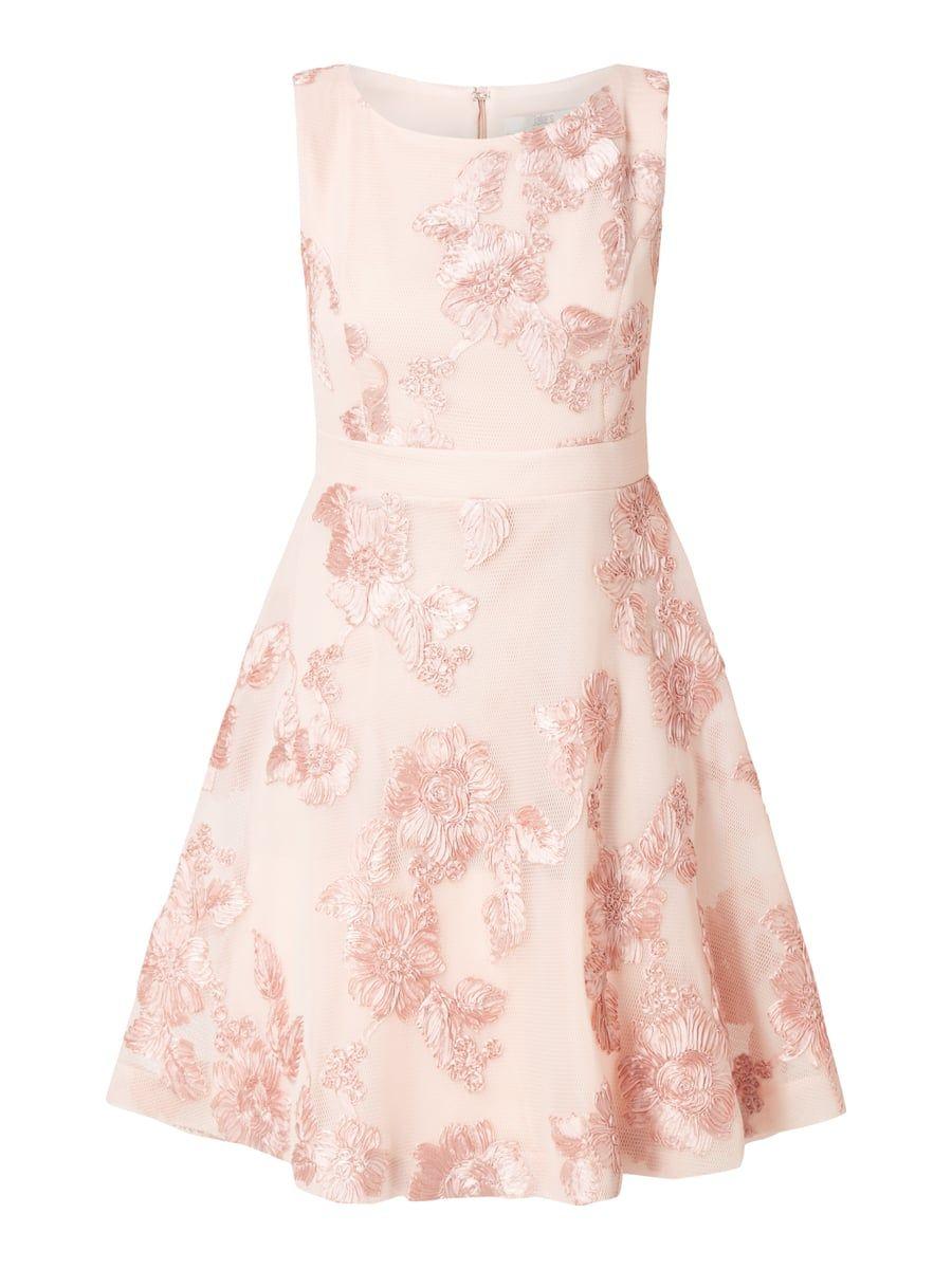 Cocktailkleid aus Mesh mit floralen Zierborten Rosé - 1   Shopping ...