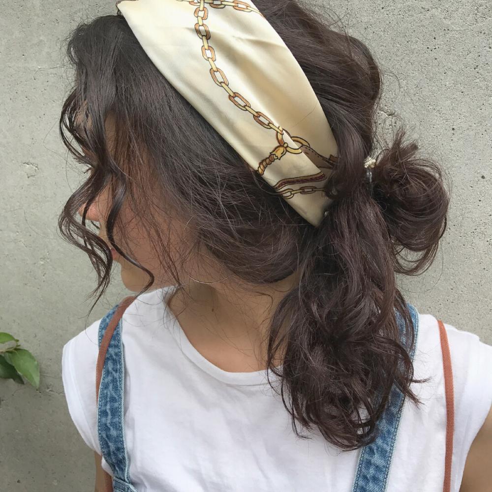 バンダナ スカーフの巻き方 巻くだけでおしゃれでかわいいをget Hair