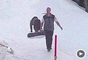 Image: Video still of snowboarder falling down (Courtesy of StupidVideos)