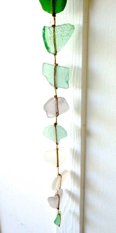 Long Sea Glass Wall Hanging Mobile Suncatcher Rustic