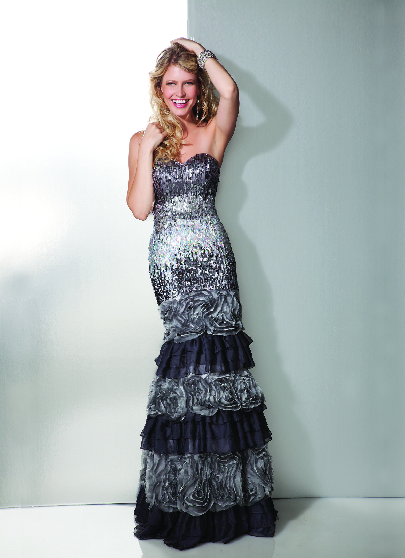 Clarisse Style #17207 Strapless Silver and Black Ruffle Prom Dress ...