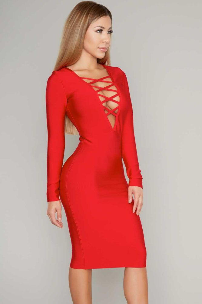 Red Sexy Bold V Neck Criss Cross Bust Bandage Dress