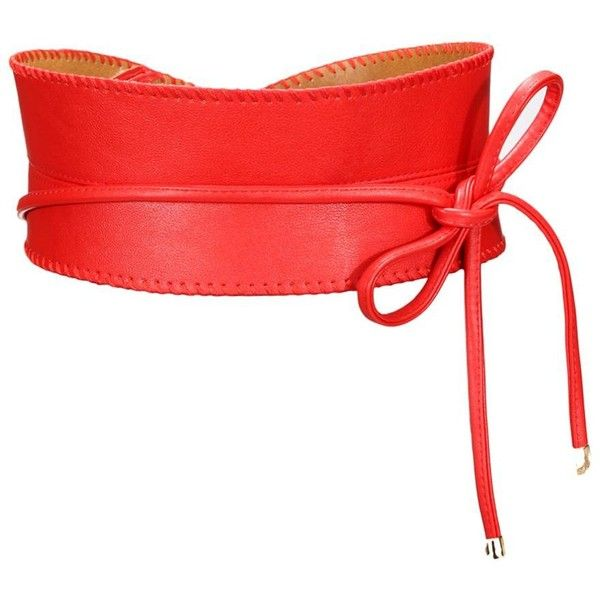 Yoins Self-tie Wide Belt -Red ($18) ❤ liked on Polyvore featuring accessories, belts, yoins, red, red belt, thick belt, wide red belt, wide belt and fat belt
