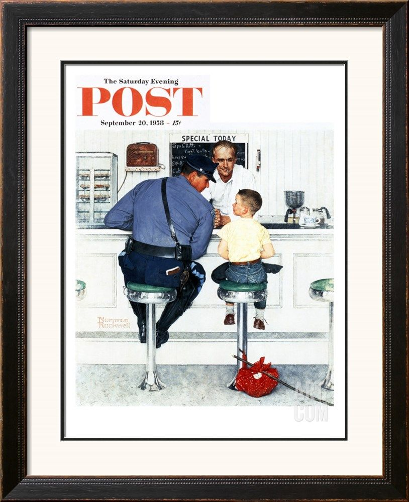 """Runaway"" Saturday Evening Post Cover, September 20,1958 Giclee Print by Norman Rockwell at Art.com"