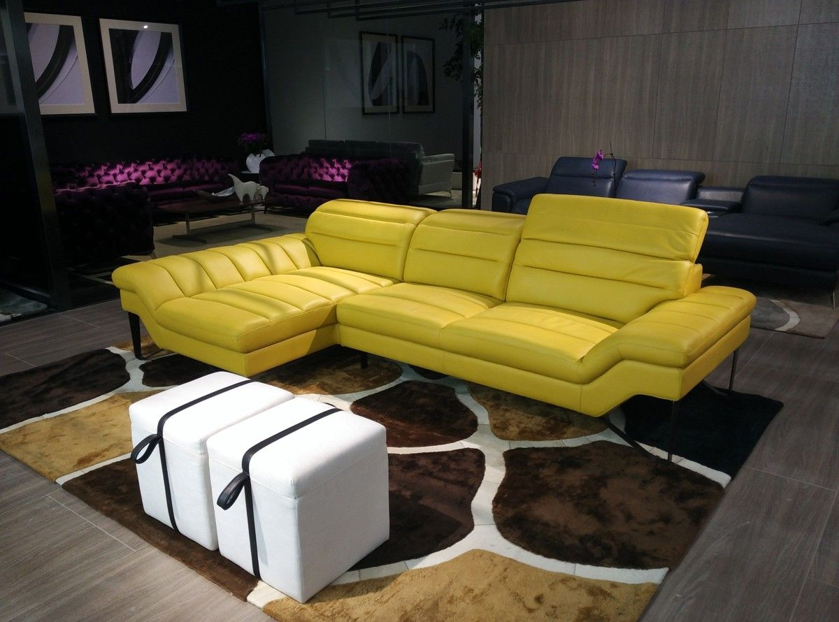 Divani Casa Leven Modern Yellow Leather Sectional Sofa
