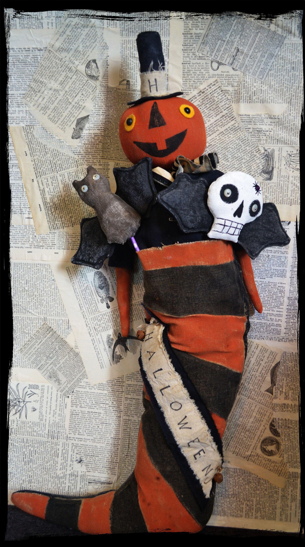 Primitive Farmhouse BAT Grungy Folk Art Halloween Fall Bowl Filler Cupboard Tuck