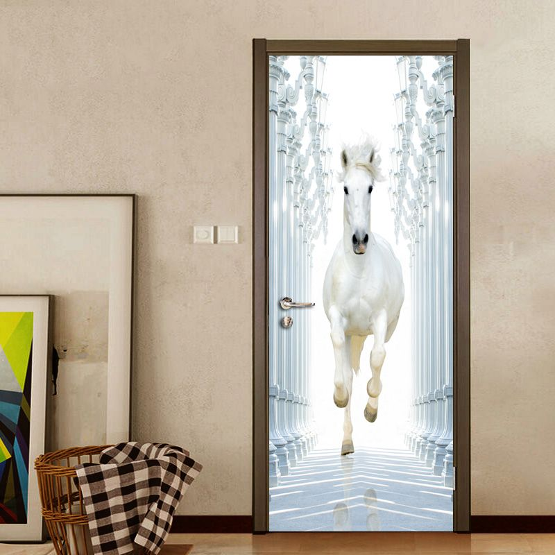 Roman Column White Horse 3D DIY Door Wall Stickers Home Decor Modern