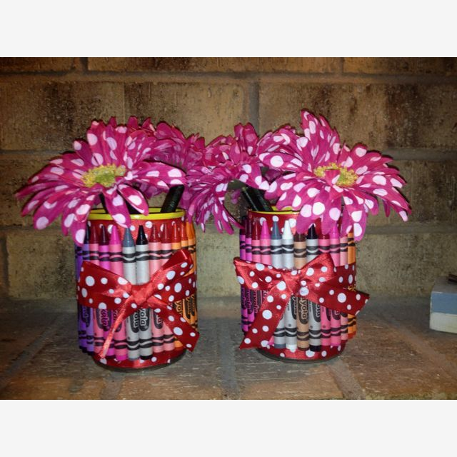 Teachers appreciation gifts!   I used a 16 oz can 1/2 inch ribbon and 30 crayons and ALOT of hot glue :)   The flowers are pen's