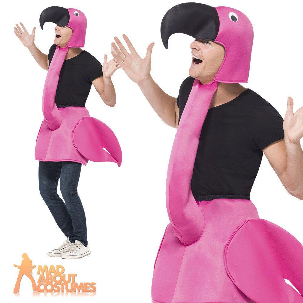 Adult Flamingo Fancy Dress Costume Bird Men Ladies Animal Male ...