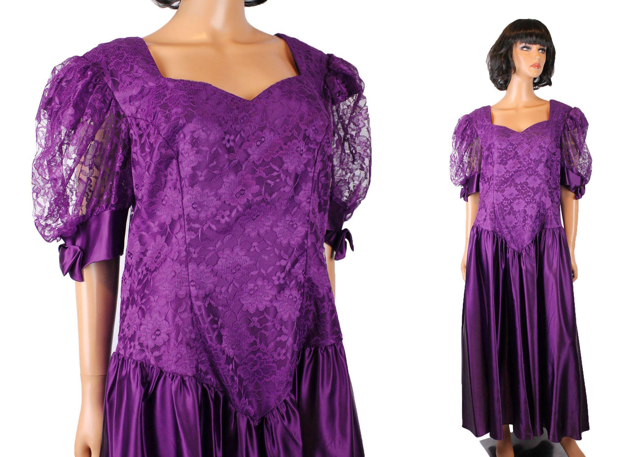 80s prom dress 20 xl vintage dark purple satin lace alfred