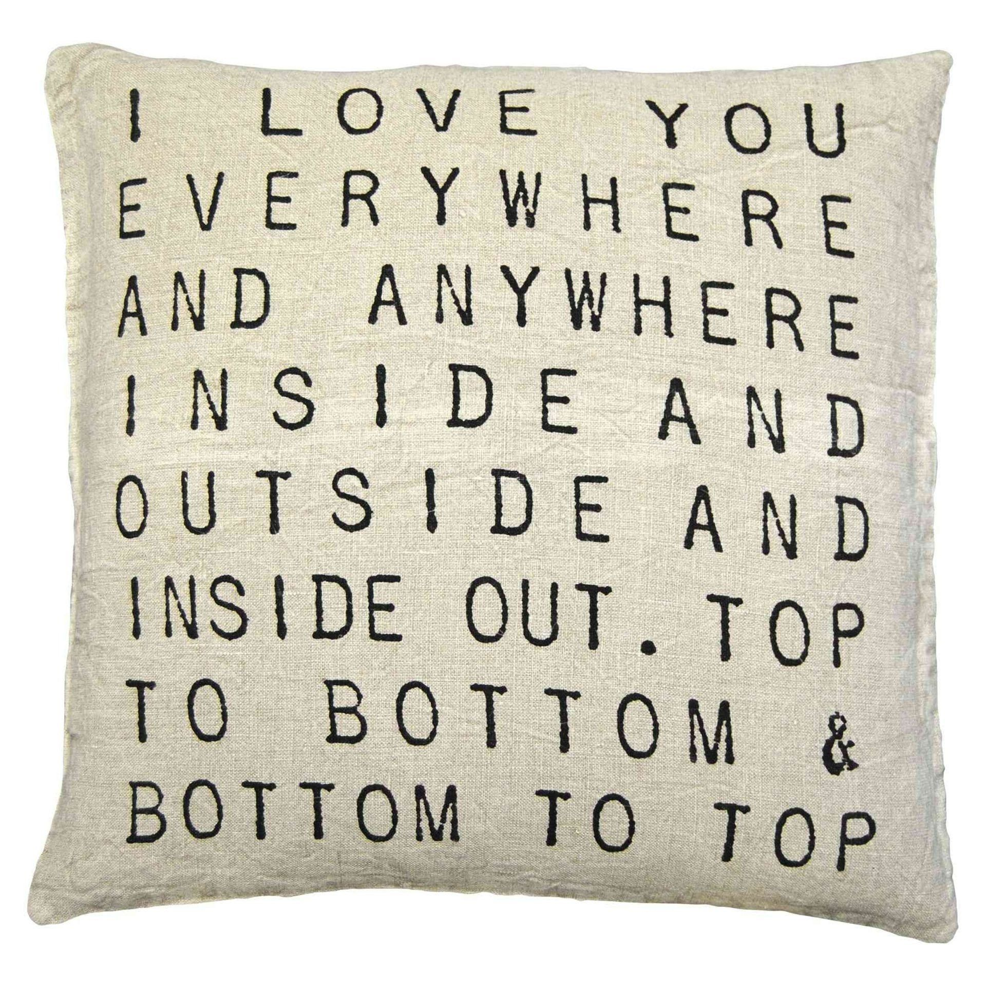 Home interior design quotation sugarboo designs i love you everywhere pillow  handmade home decor
