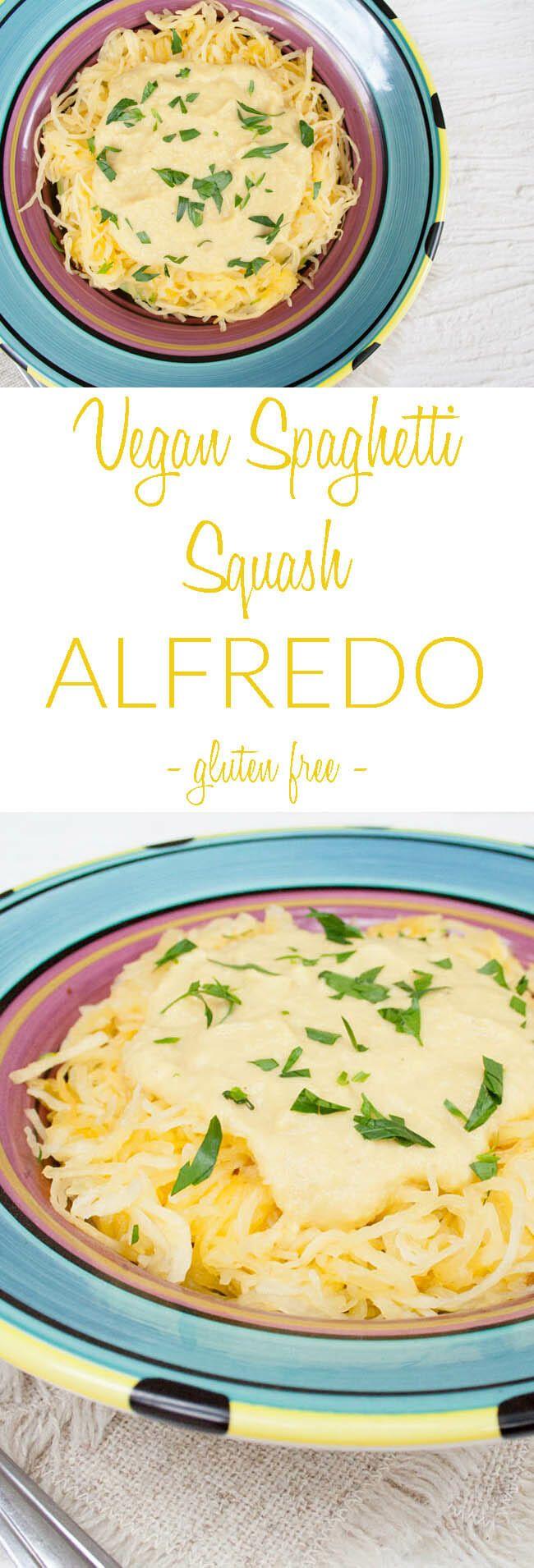 Vegan Spaghetti Squash Alfredo Gluten Free This Creamy Alfredo Recipe Has Big Flavor Vegan Spaghetti Vegan Spaghetti Squash Spaghetti Squash Recipes Vegan