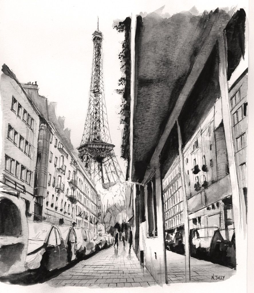 Watercolor Aquarelle Perspective Paris Tour Eiffel Dessin