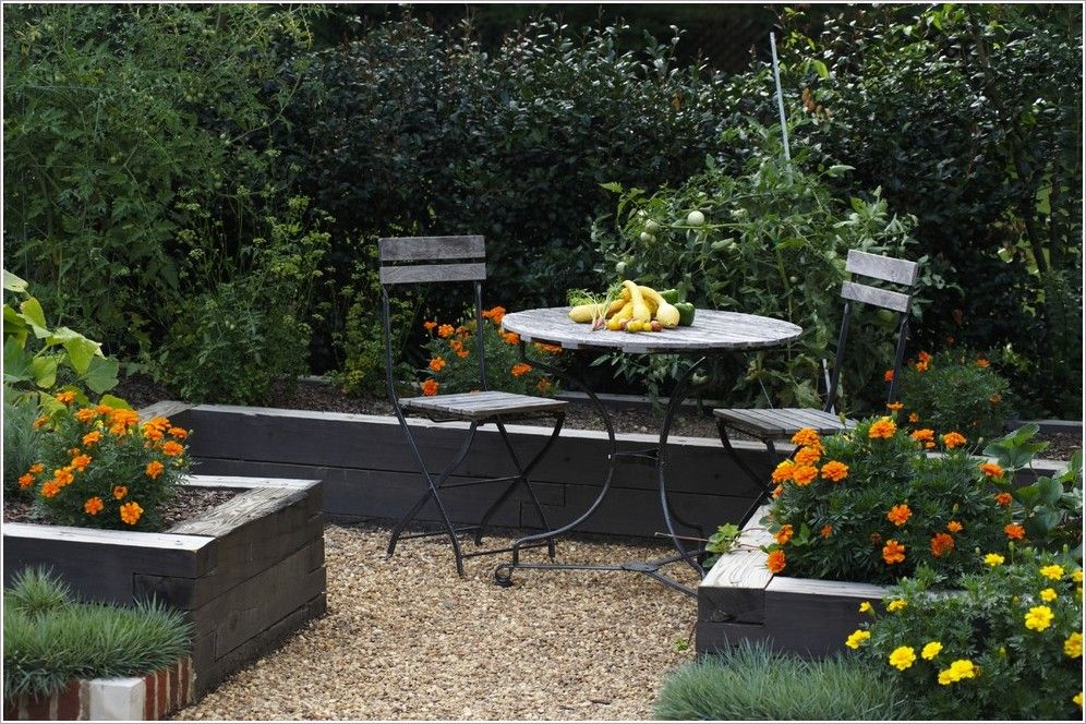 Garden Furniture Traditional landscape-traditional-birmingham-cafe-chairs-edible-garden-gravel