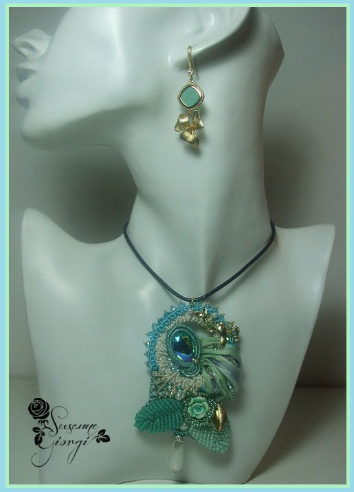 Embroidery 3D, Swarovski, Soutache,Shibori and gold plated 14Kt.