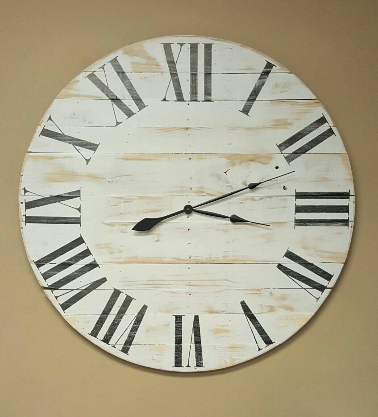 30in horizontal classic farmhouse wall clock with white