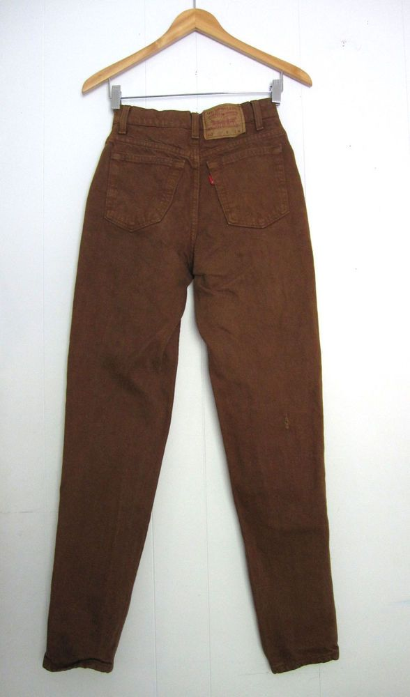 caf23df07ccb Vintage Brown 512 Levi s High Waisted Tapered Leg Slim Fit Mom Jeans Denim  24