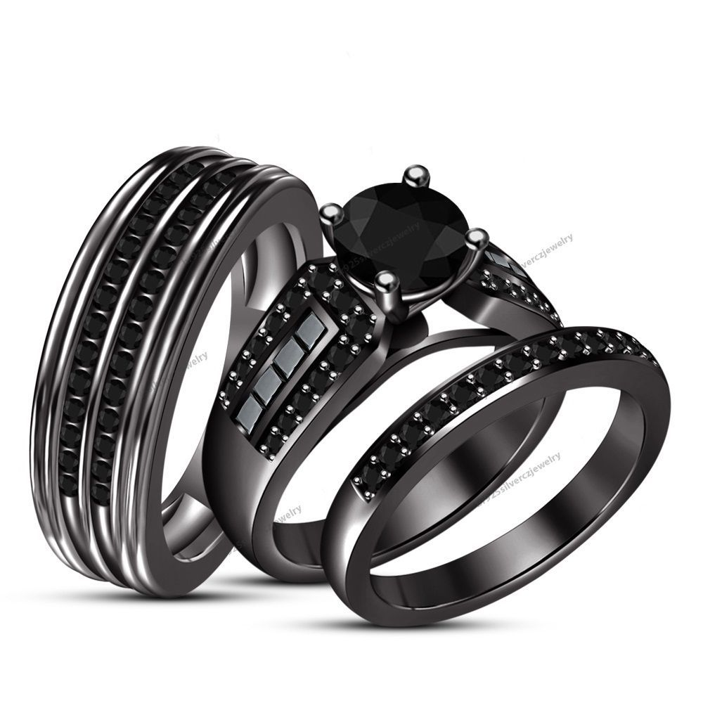 Real Diamond Trio Set Black Gold Filled His And Her Matching
