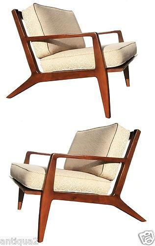 Pair 60s Mid Century Modern Carved Kofod Ln Danish Walnut Lounge Chairs Ebay