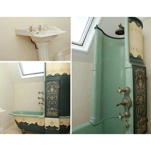 Amazing mint victorian shower/bath #steampunktendencies #steampunk #victorian #Design #interiordesign