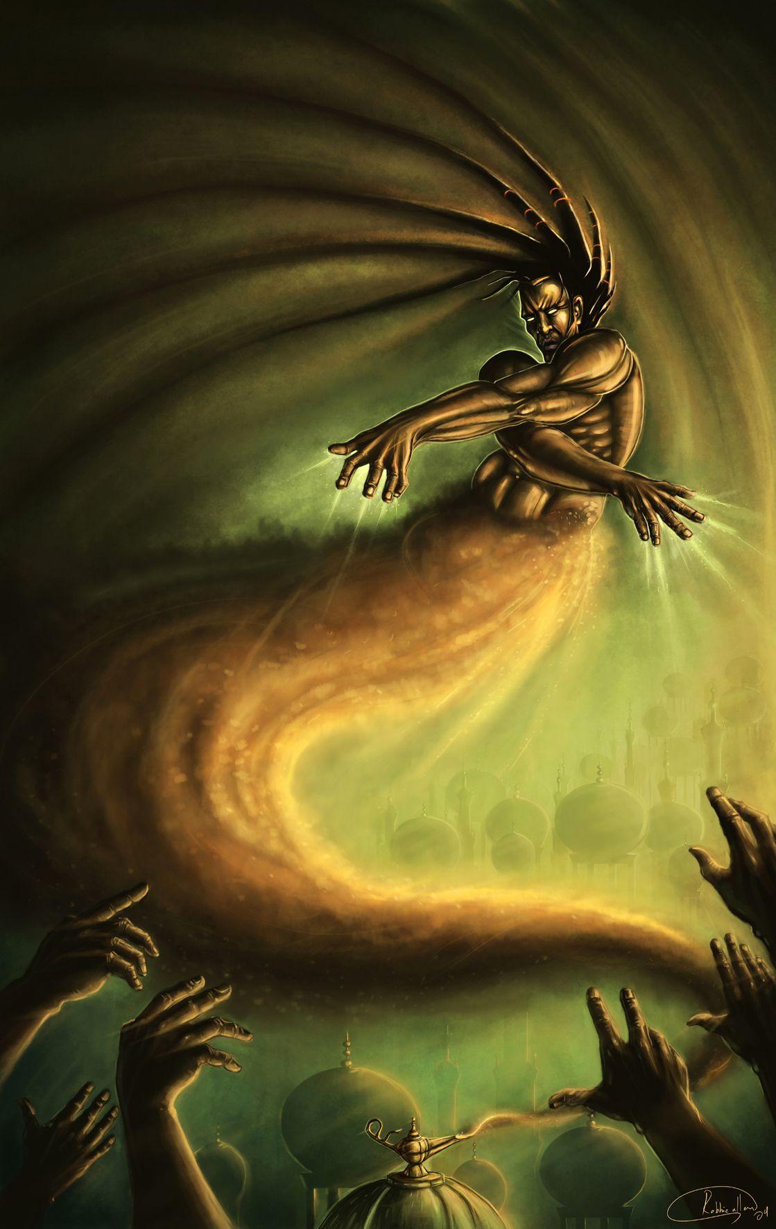 Genie or Djinn- Hindu myth: a creature made of fire and ...  Genie or Djinn-...