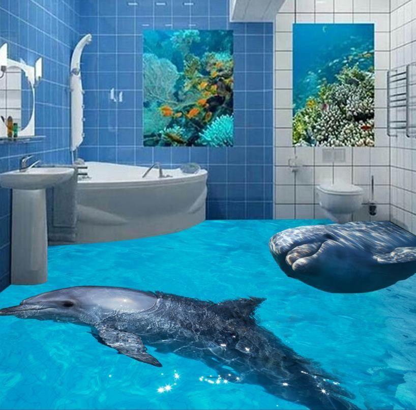 Custom 3d Floor Murals 3d Photo Dolphin Floor Waterproof Self Adhesive 3d Pvc Vinyl Floor Wallpaper Floor Wallpaper 3d Floor Art Floor Murals