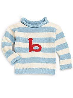 MJK Knits - Kid's Personalized Striped Sweater/Blue & White