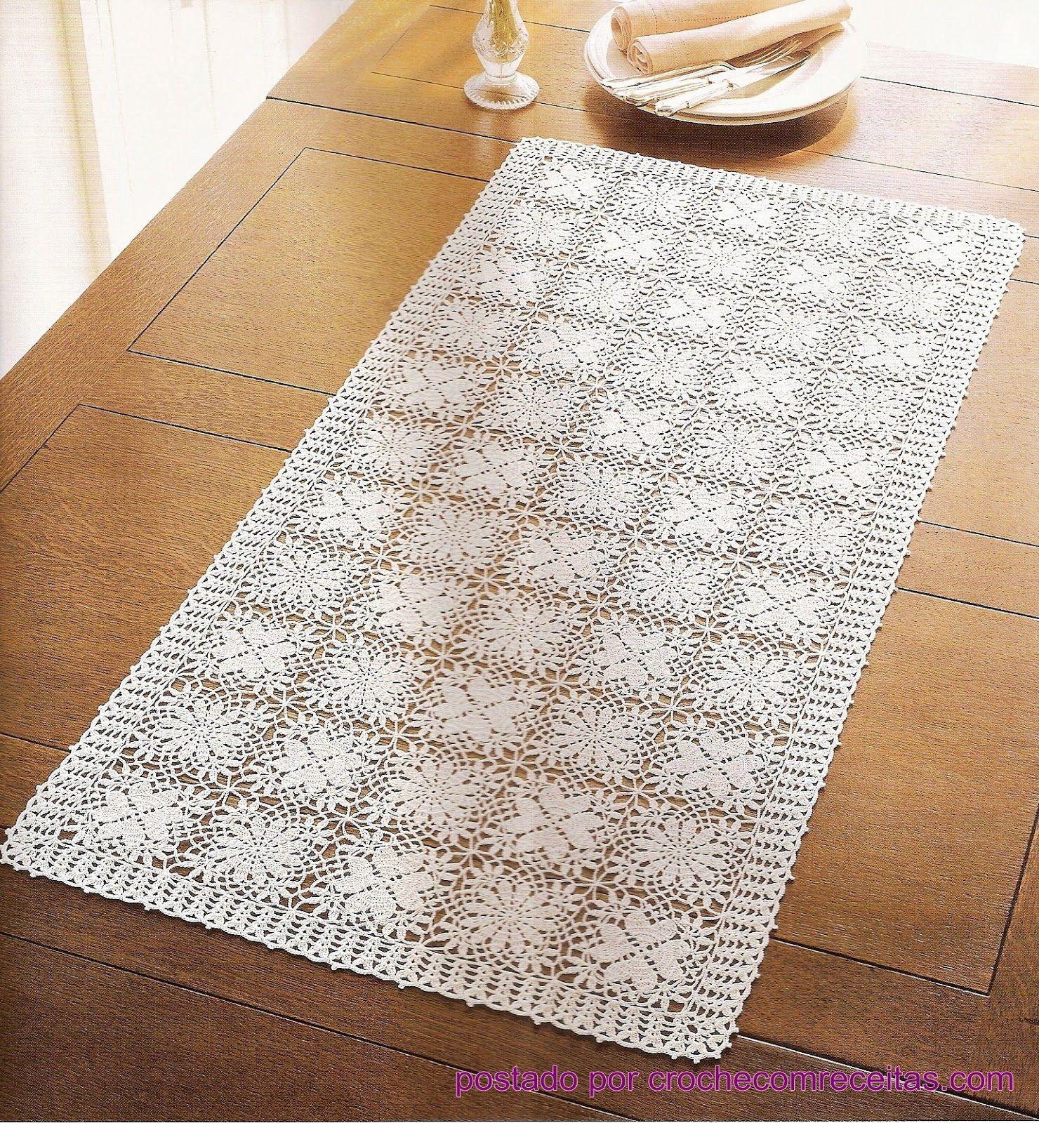 caminhos de mesa em croche square floral e coração com receita e ...