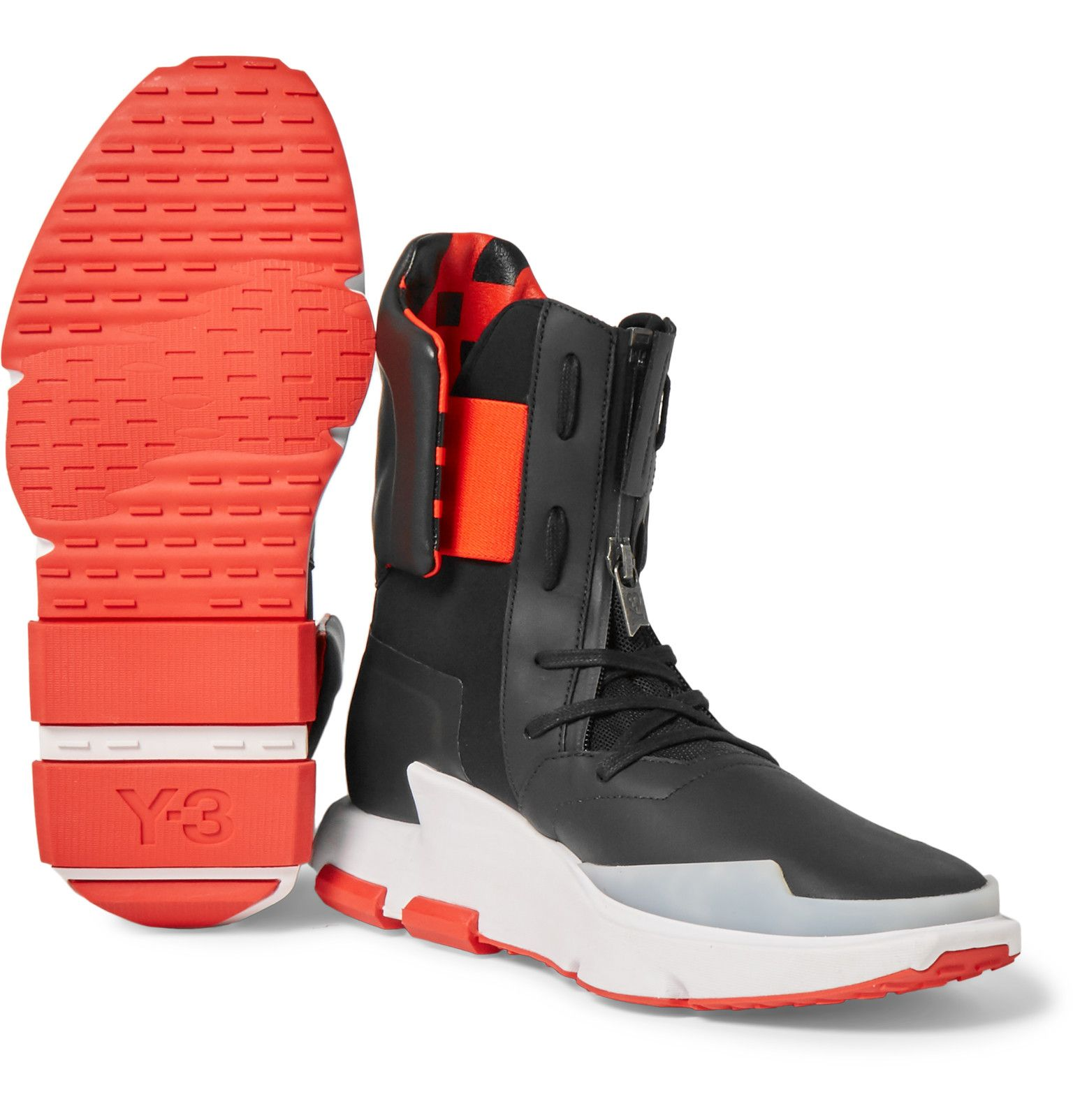 release date: d361c dbc65 Y-3 NOCI 0003 Leather-Trimmed Neoprene High-Top Sneakers | Shoe ...