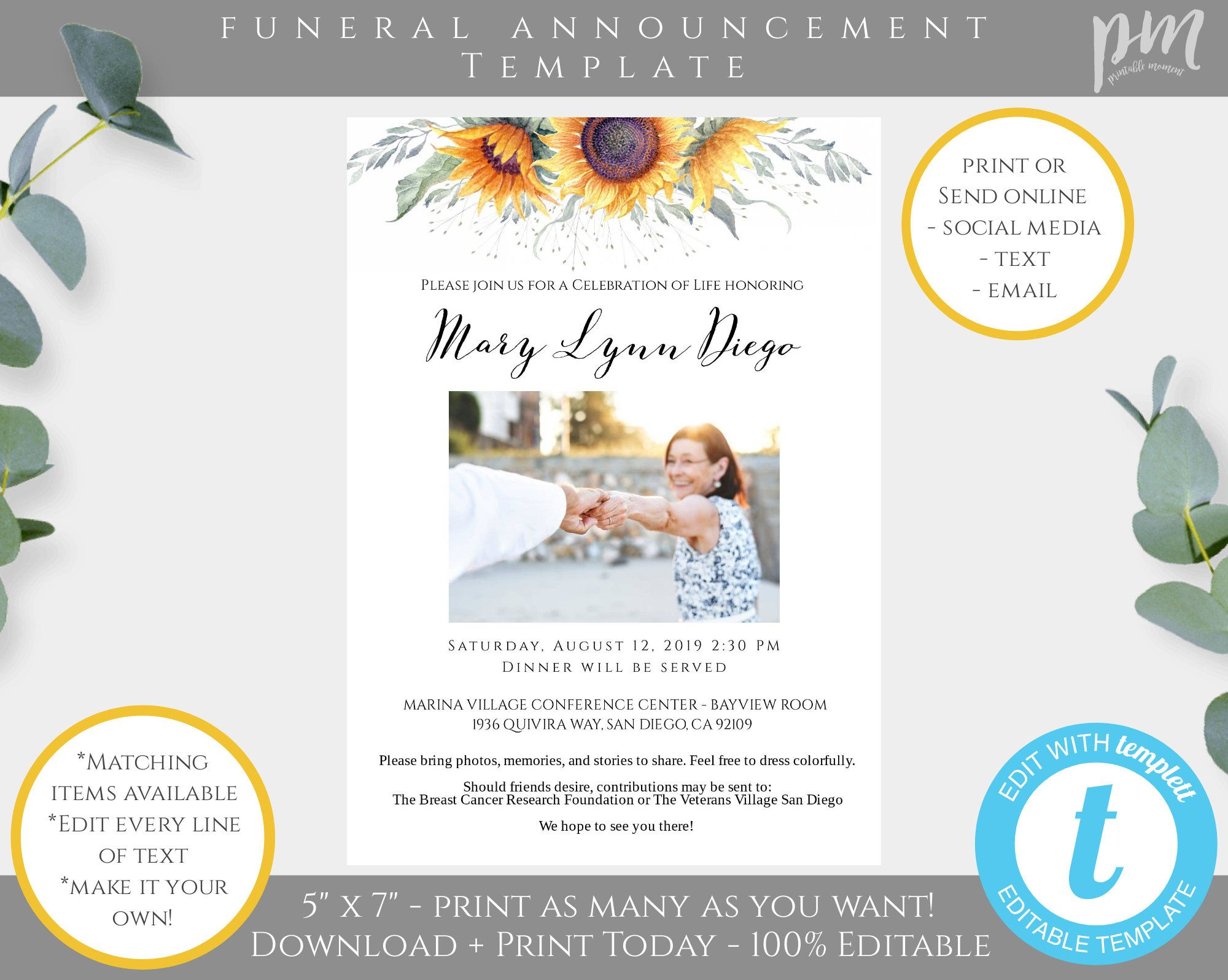 Printable Funeral Template Instant Download Funeral Program Template In Loving Memory Editable Obituary Sunflower Funeral Template SFB