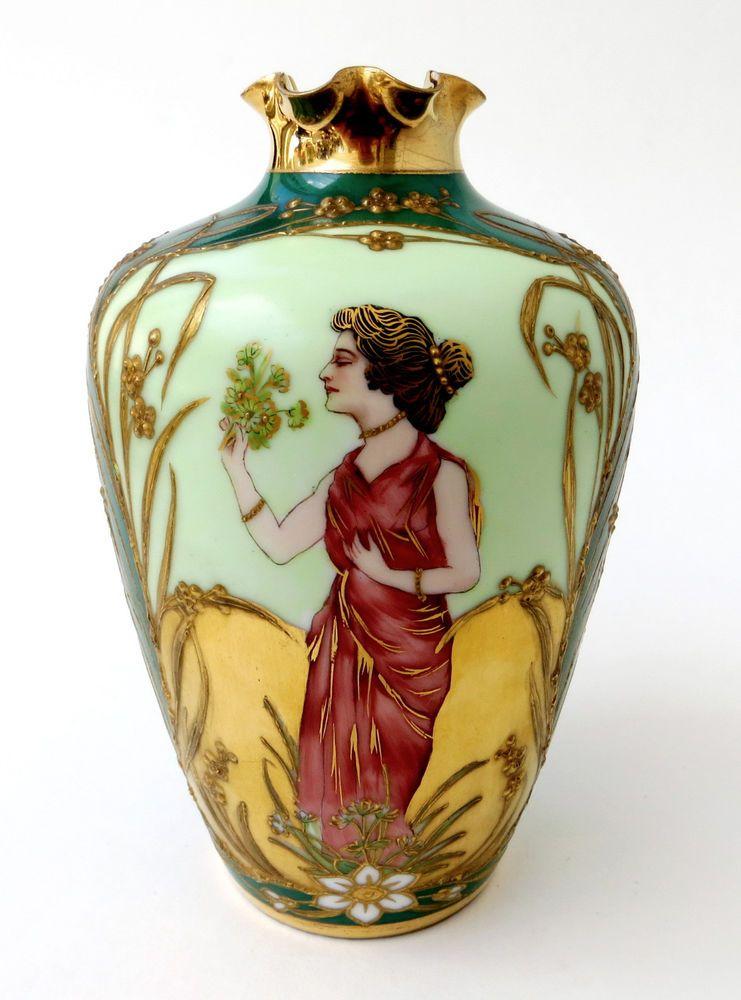 Richard Klemm Art Nouveau Hand Painted And Gilt Dresden Vase