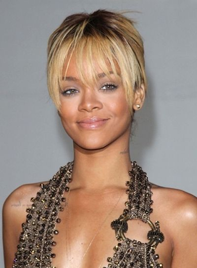 2015 haircuts for rihanna updo bangs and updo 9595