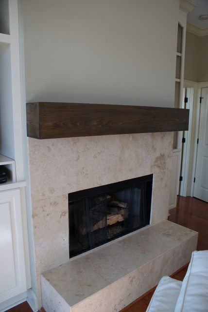 Natural Stone Tile Fireplace With Wood Beam Mantel