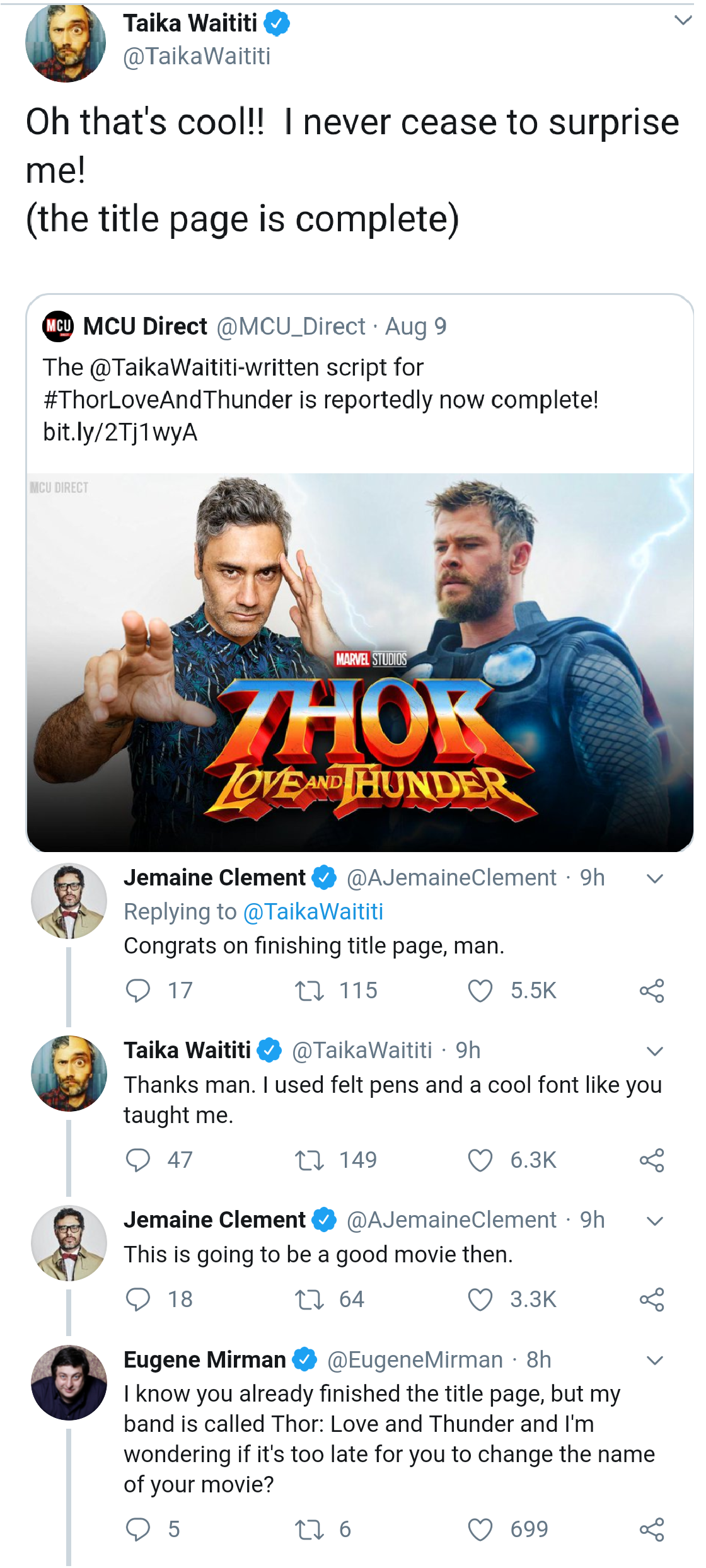 Taika Waititi And Jemaine Clement Discuess The Status Of Thor Love Amp Thunder S Scripthttps I Redd It 1z73ojniz9i31 Pn Jemaine Clement Taika Waititi Thor