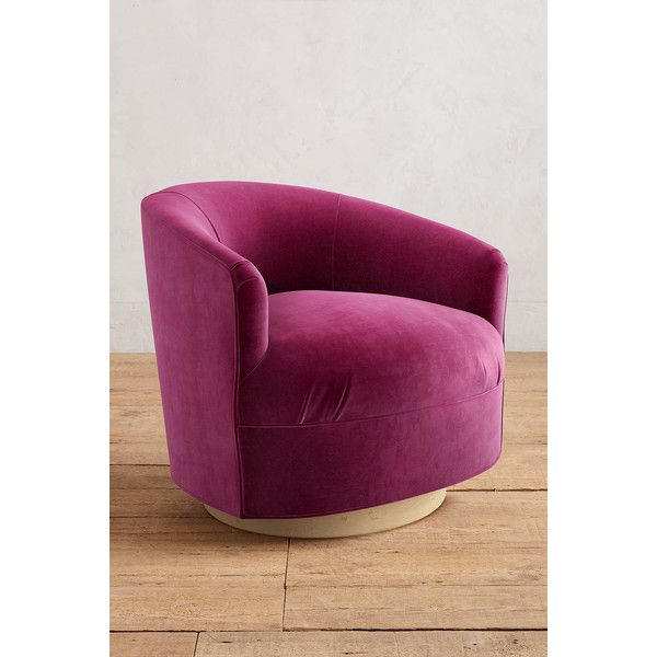 pink swivel chair eaze lounge anthropologie velvet amoret 1 168 liked on polyvore featuring home furniture