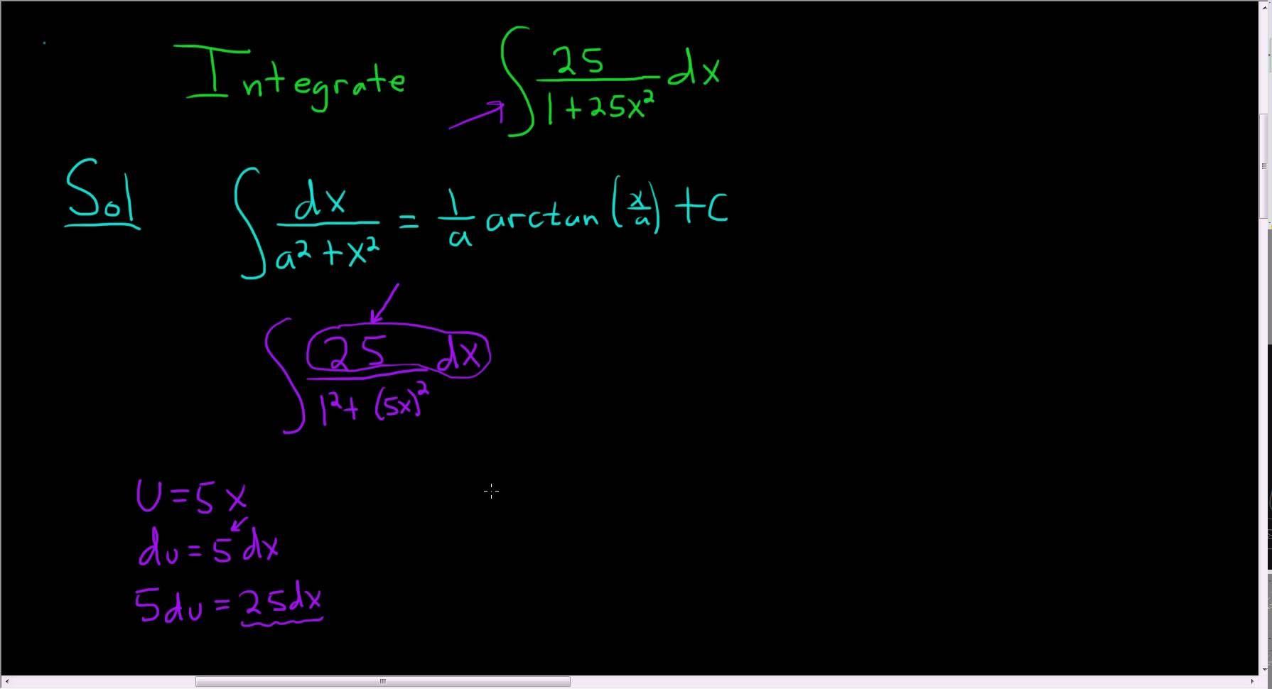 Indefinite integral of 251 25x2 using arctangent