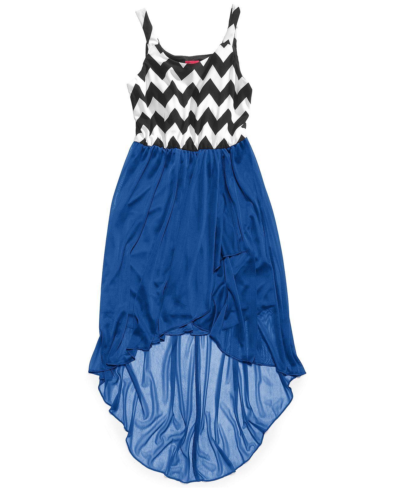 Ruby Rox Girls' Chevron-print High- Dress - Kids Girls