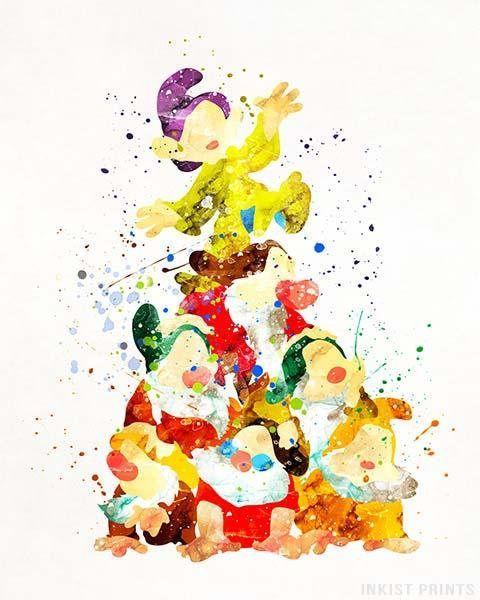 Seven Dwarfs, Seven Dwarfs Print, Snow White Art, Snow White Print ...