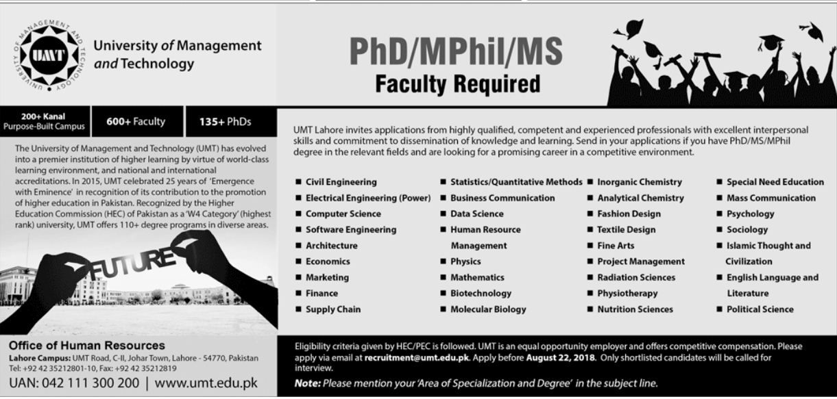 Jobs In University Of Management Technology Umt Lahore University Skills Technology Job Management