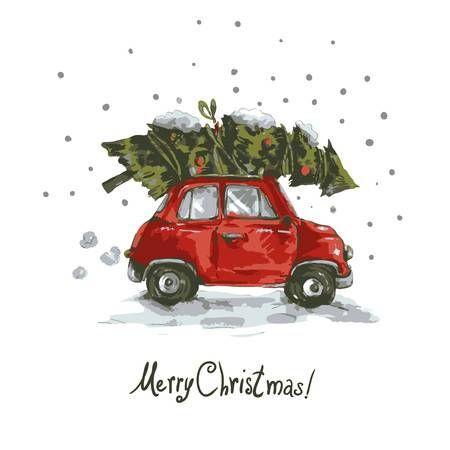Auto Weihnachtsbaum Winter Gru karte mit roten Retro Auto, Weihnachtsbaum, Weinlese